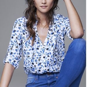 Express White & Blue Floral Portofino Blouse
